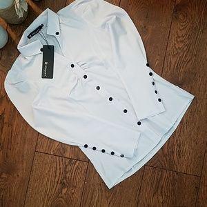 NWT Allegra K Womens Button Up Blouse (Sz XS)